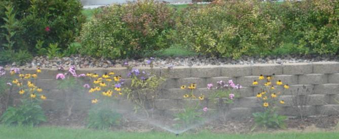 a sprinkler system irrigating a residential flower bed