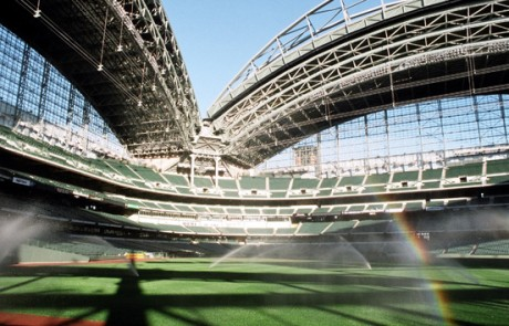 sprinklers installed on the Miller Park baseball field