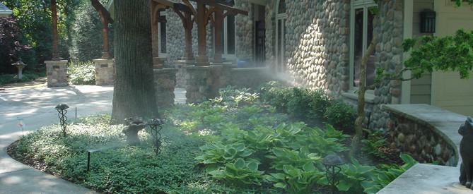 flower bed with sprinkler system installed