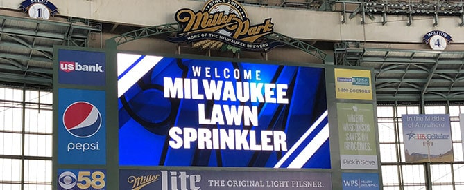 Milwaukee Lawn Sprinkler at Miller Park